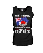 AU Veteran-Don't Thank  Unisex Tank thumbnail