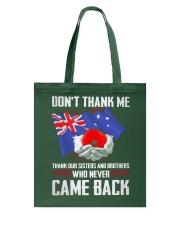 AU Veteran-Don't Thank  Tote Bag thumbnail
