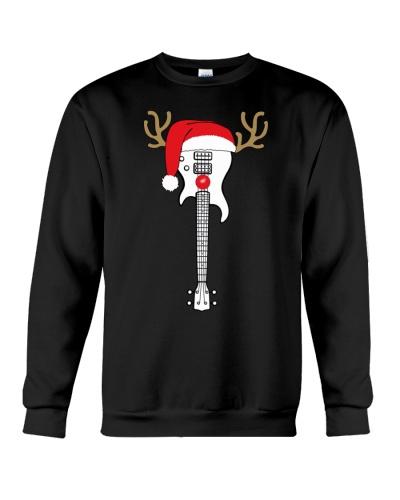Christmas Bass Guitar Santa Hat Reindeer Antlers