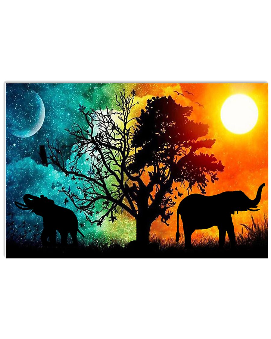 SUN AND  MOON  ELEPHANT 17x11 Poster