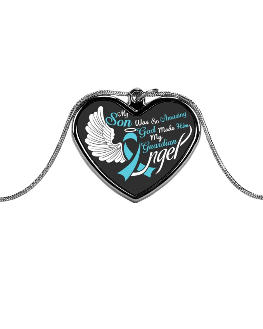 My Son Was so Amazing My Guardian Angel  Metallic Heart Necklace