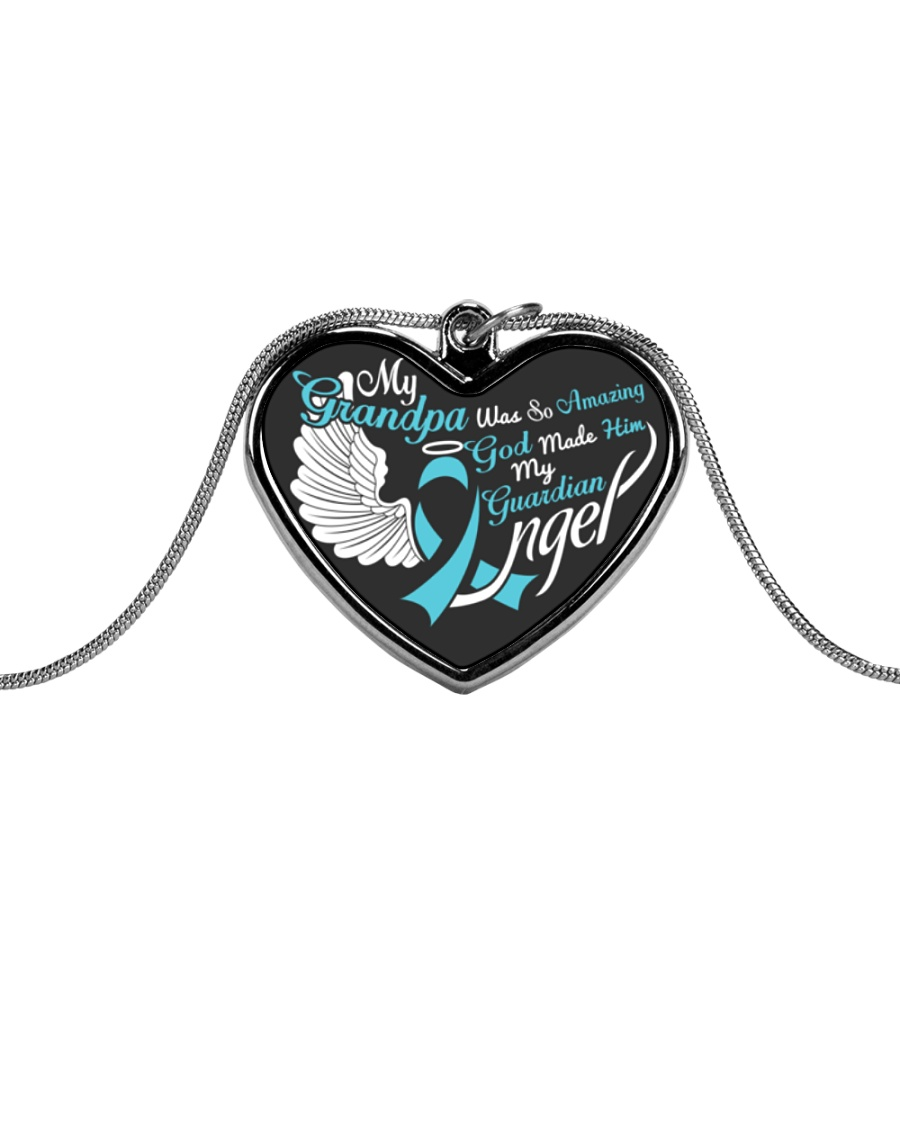 My Grandpa Was so Amazing My Guardian Angel  Metallic Heart Necklace
