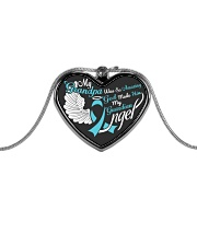 My Grandpa Was so Amazing My Guardian Angel  Metallic Heart Necklace front