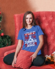 Horse Zombies Tshirts Ladies T-Shirt lifestyle-holiday-womenscrewneck-front-2