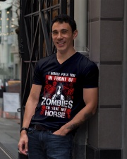 Horse Zombies Tshirts V-Neck T-Shirt lifestyle-mens-vneck-front-1