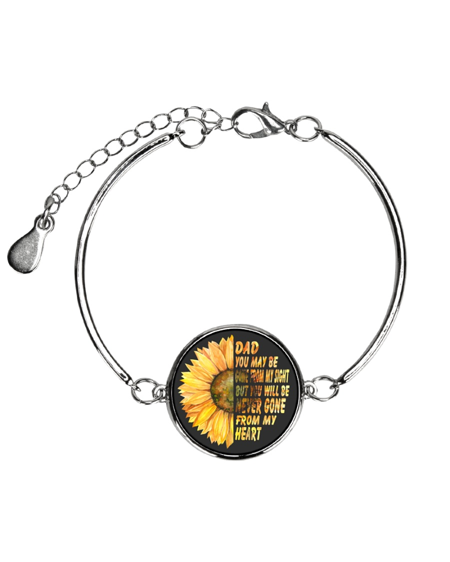You Will Be Never Gone From My Heart Dad Metallic Circle Bracelet