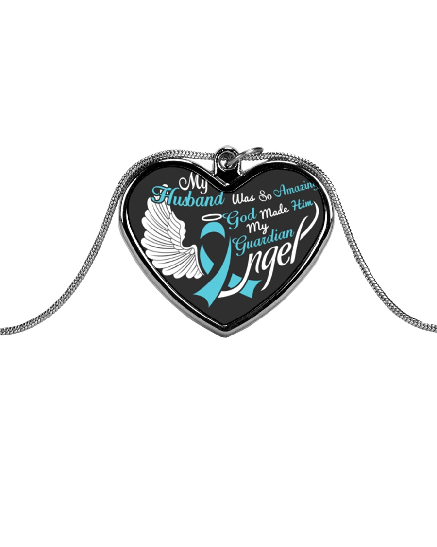 My Husband Was so Amazing My Guardian Angel  Metallic Heart Necklace