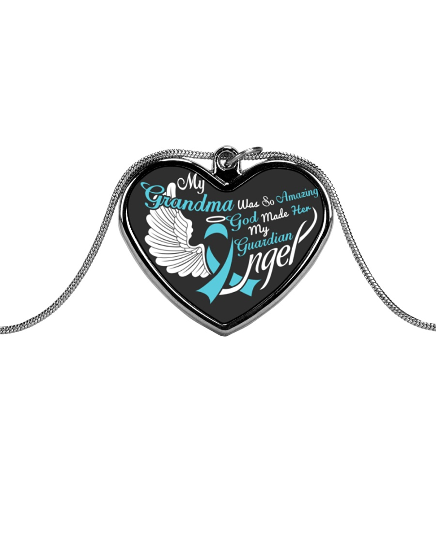 My Grandma Was so Amazing My Guardian Angel  Metallic Heart Necklace