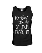 Rockin The Cat Mom and Teacher Life T-shirt Unisex Tank thumbnail
