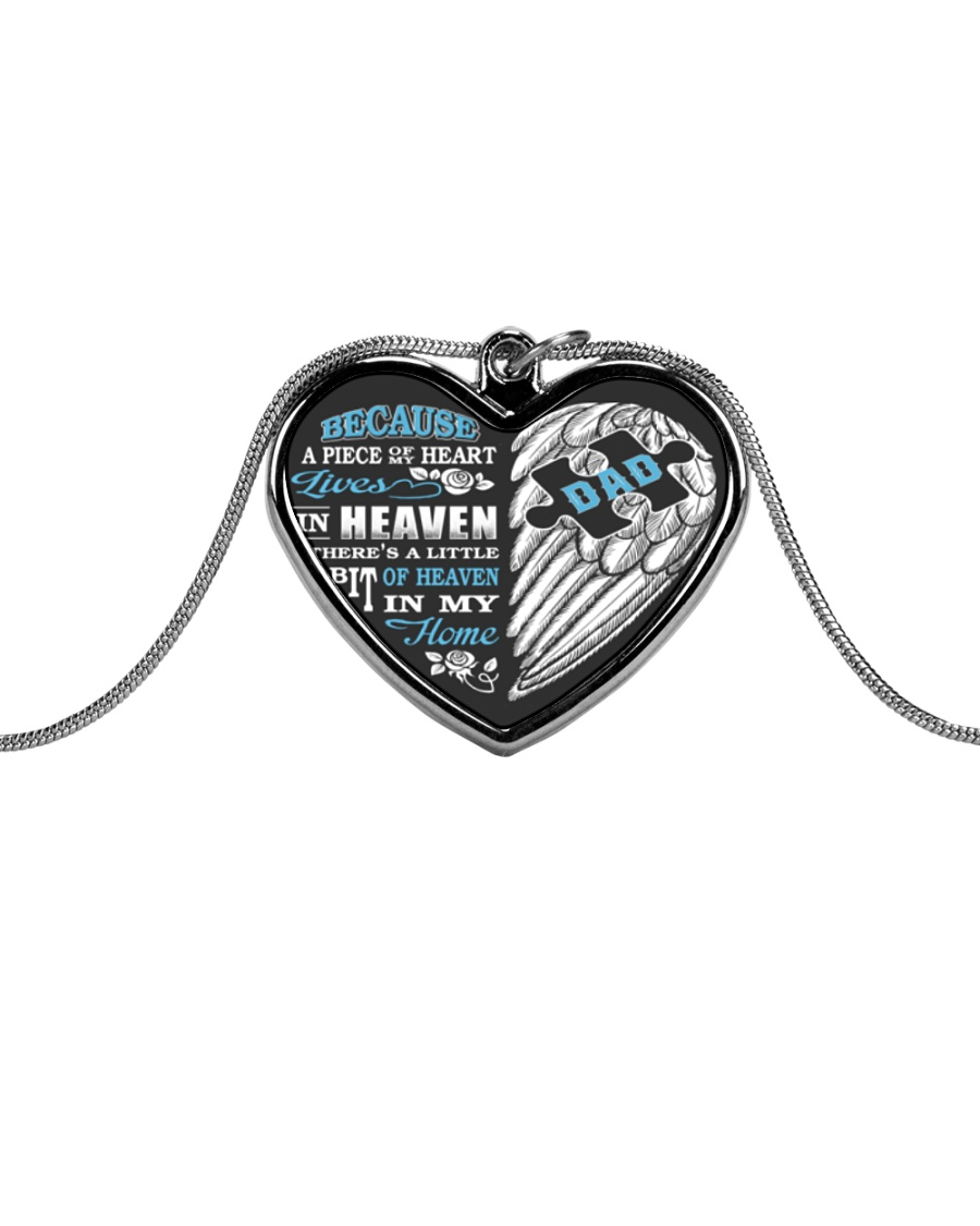 My Dad My Guardian Angel Necklace Metallic Heart Necklace