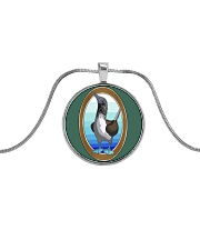 Blue Footed Booby Jewelry Metallic Circle Necklace front