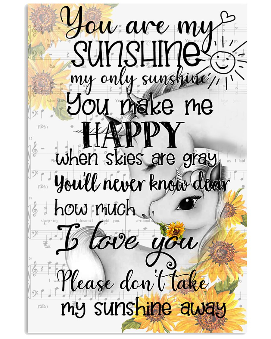 Unicorn You Are My Sunshine 16x24 Poster