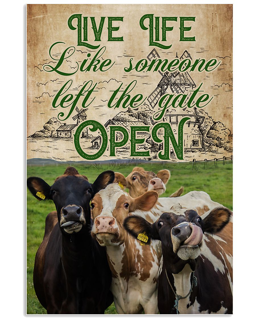 Cow Live Life Like Someone 16x24 Poster