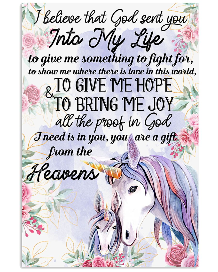 Unicorn I Believe That God Sent You Into My Life  11x17 Poster