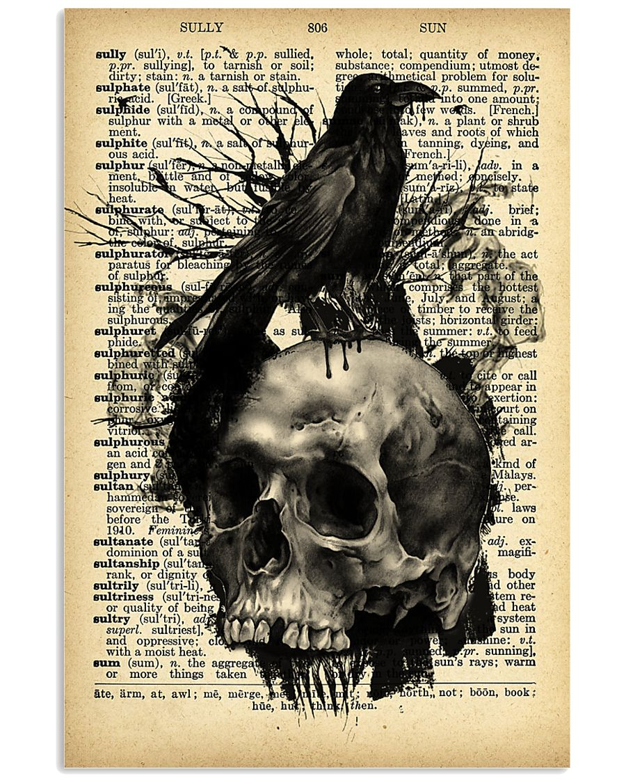 Raven Skull 16x24 Poster