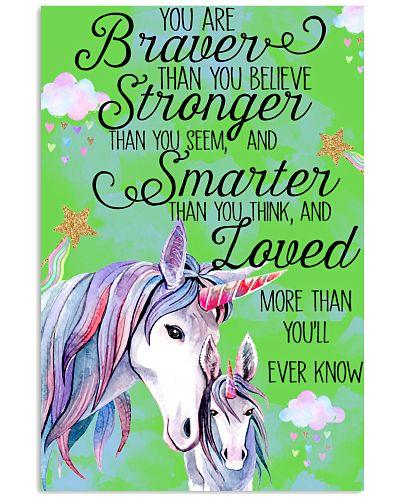 Baby Unicorn You are braver  Nursery Poster