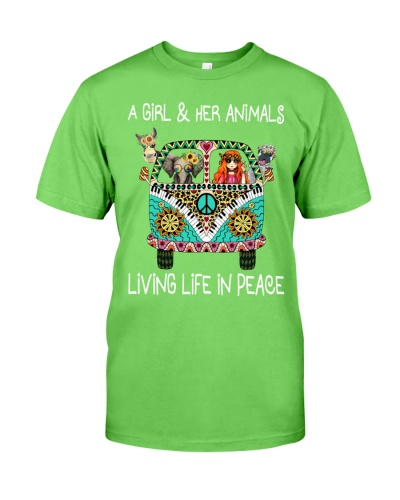 A girl and her animals living life in peace Tshirt