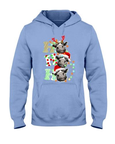 Cow Ho Ho Ho Christmas Santa Claus Heifer Tee
