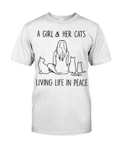 Cats A Girl And Her Cats