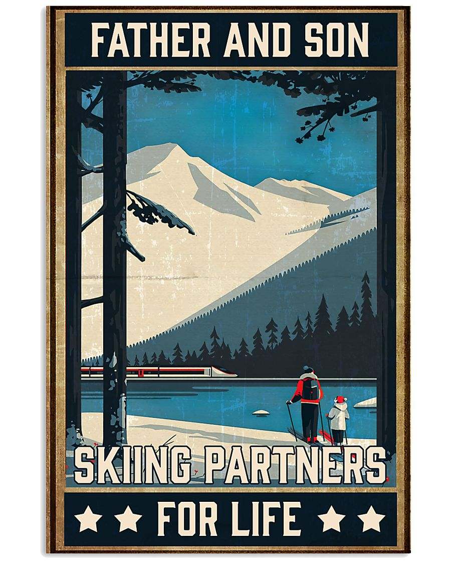 Skiing Father And Son 16x24 Poster