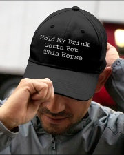 Horse Hold my drink Gotta pet this horse Embroidered Hat garment-embroidery-hat-lifestyle-01