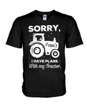 Sorry I Have Plans With My Tractor V-Neck T-Shirt thumbnail