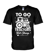 To Go To Sleep Tractor Not Sheep V-Neck T-Shirt thumbnail