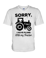Sorry I Cant I Have Plans With My Tractor V-Neck T-Shirt thumbnail