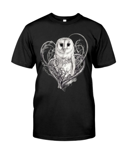 OWL IN THE MIDDLE OF HEART