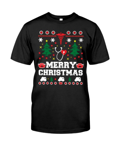 Ugly Sweater Style Funny Nurse Merry Christmas