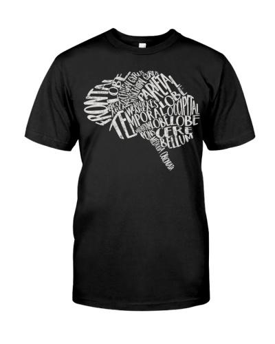 Brain Typography T-Shirt RN Neuroscience Nurse