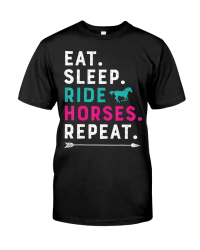 Horse Shirts For Girls Women Eat Sleep Ride Horses