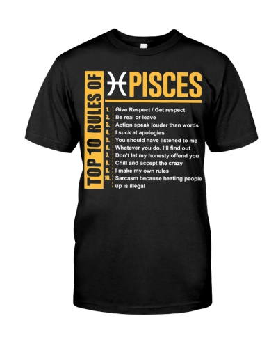 Top 10 Rules of Pisces Birthday Gifts T-Shirt