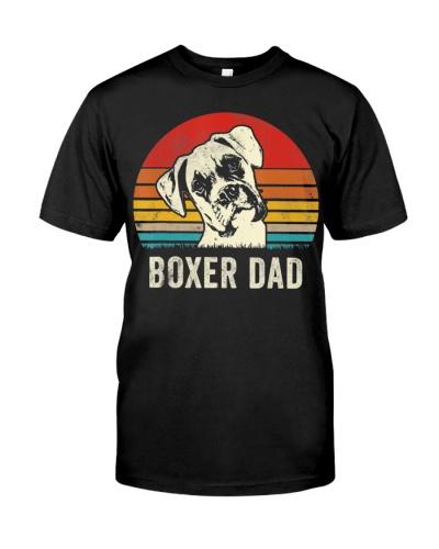 Mens Vintage Boxer Dad Ever Daddy Gifts Dog Shirt