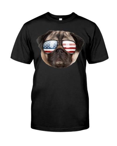 Funny Cute Patriotic Pug America Sunglasses Dog