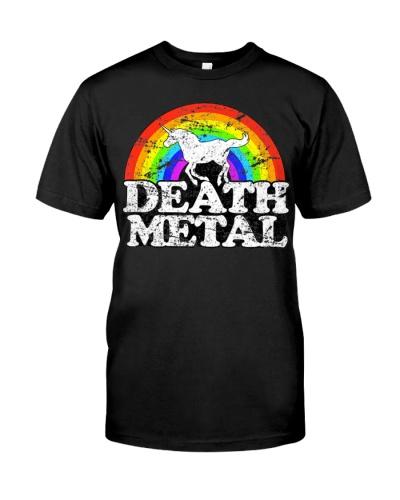 Unicorn Death Metal T Shirt - Funny Rainbow Tee
