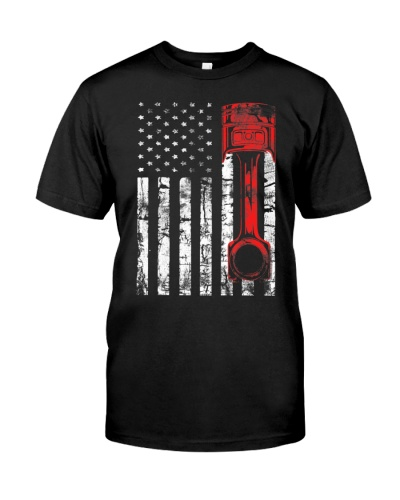 Patriotic Auto And Diesel Mechanic USA Flag Piston