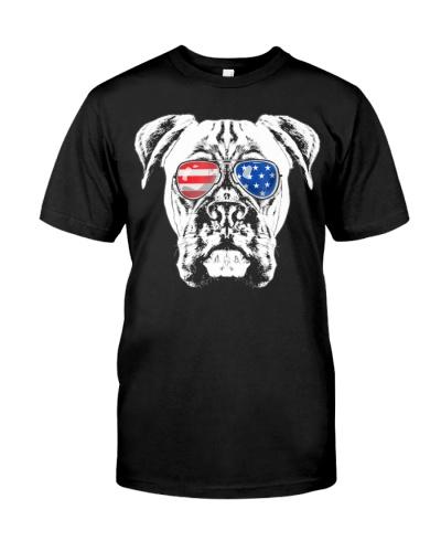 Boxer Dog American Flag Glasses Shirt 4th Of July