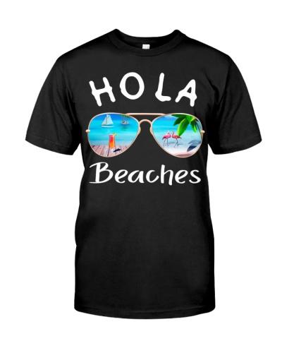 Hola Beaches Summer T-Shirt Sunglasses Flamingo