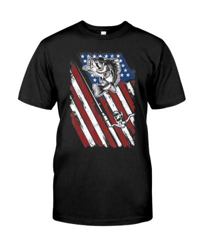 Patriotic Fishing Vintage American Flag Fishing