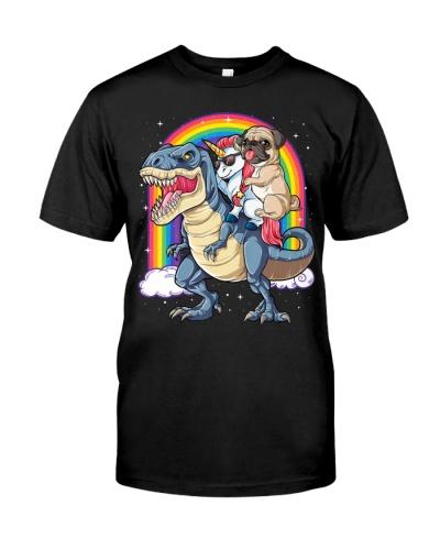 Pug Unicorn Dinosaur T-Rex Shirt Kids Girls Women