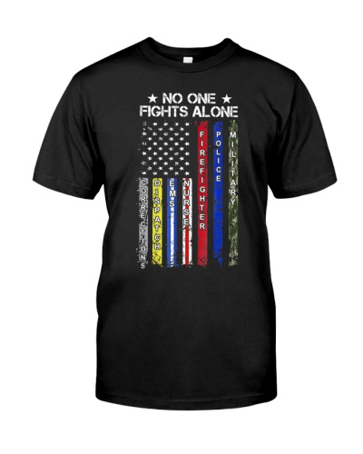 No One Fights Alone USA Flag Thin Line Military