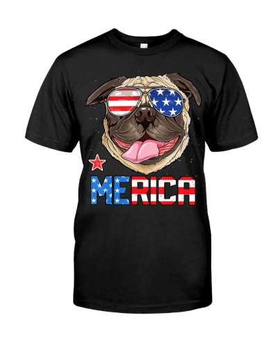 Pug Merica 4th Of July T shirt Men Kids Boys Girls