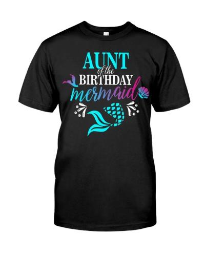 Aunt Of The Birthday Mermaid Matching Family Shirt