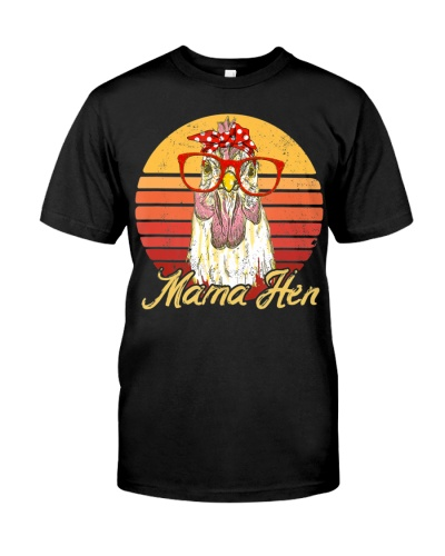 Vintage Mama Hen Chicken Gift for Mom Farm T-Shirt