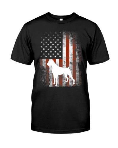 White Boxer Dog Shirt Patriotic American Flag