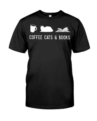 Coffee Cat Book Cute Bookworm Librarian Gift Shirt