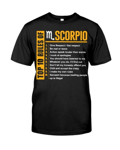 Top 10 Rules Of Scorpio Birthday Gifts T-Shirt