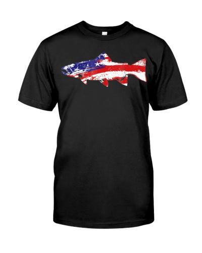 Vintage USA American Flag Fish Trout T-Shirt