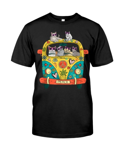 Peace Sign Hippie Van Cat Lovers Gift Idea T-Shirt